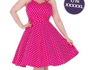Penny jurk met cirkel rok en polkadot stippen roze - Vintage 50's Rockabilly retro - S/NL36 - Dolly And Dotty