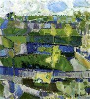 Gront blåt landskab by Poul Ekelund