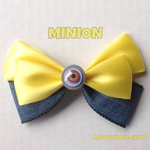 minion hair bow by abowtiqueshop on Etsy