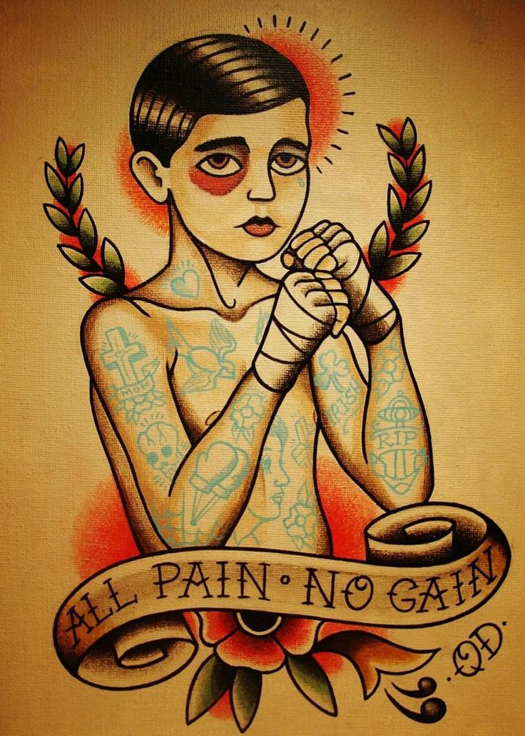 """Vintage Hairdresser Tattoos kraft paper """"All Pain No Gain"""" for kichen wall sticker poster bar cafe wall painting art"""