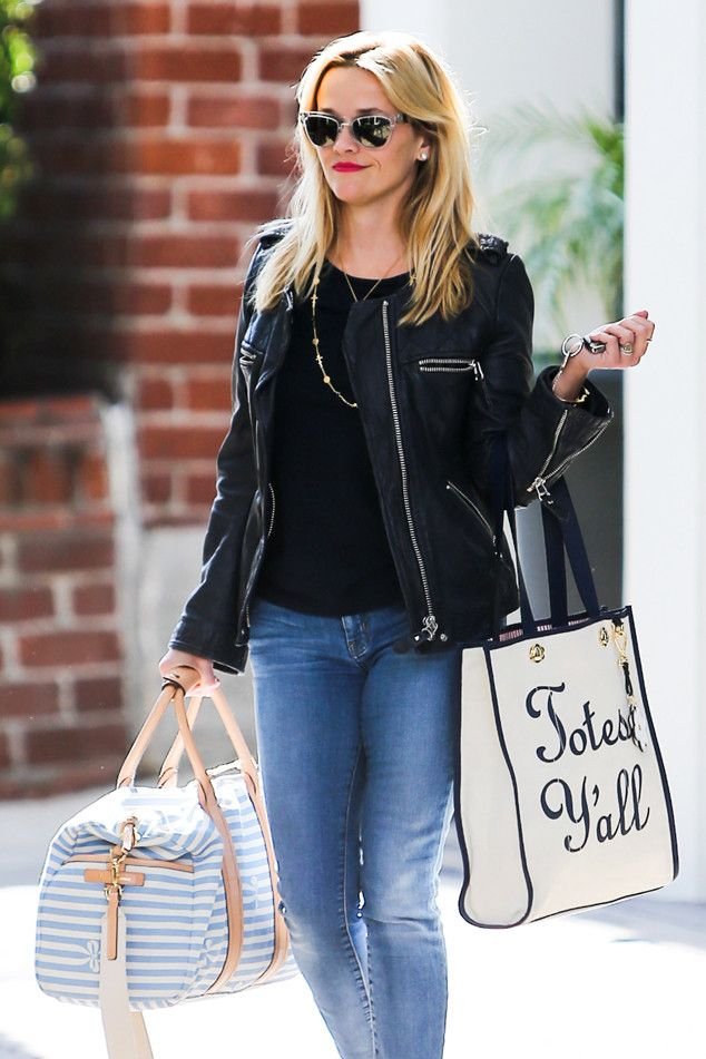 Totes! from Reese Witherspoon's Street Style  Two words: totes adorable! The actress steps out in Santa Monica in a fitted black bomber jacket and one of our handpicked 12 summer totes (by Draper James) and Westward Leaning shades.