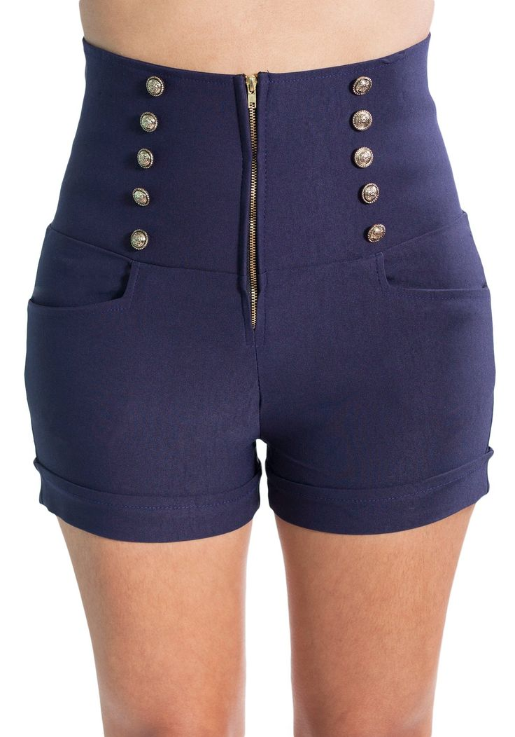 Sidecca Women's Retro 10 Button Nautical High Waist Short-Navy-Small Price:	$30.00 & FREE Returns on some sizes and colors.