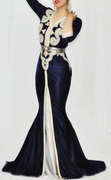 Blue and silver Glamourous mermaid moroccan caftan par LeidaMaiden