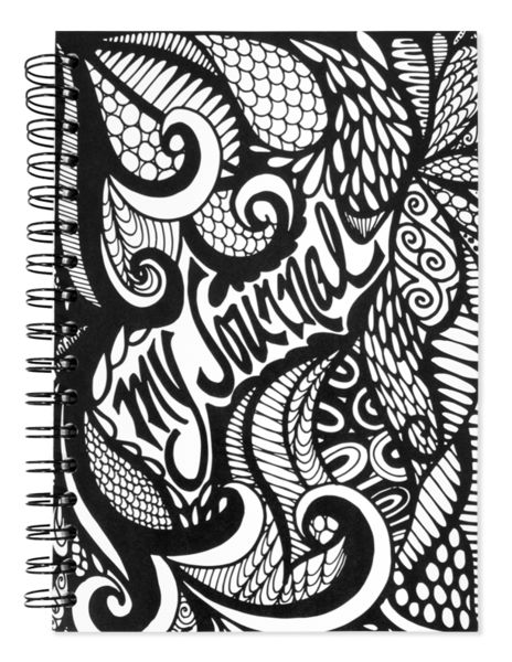 """""""My Journal"""" Hand Drawn Black and White Spiral Notebook"""