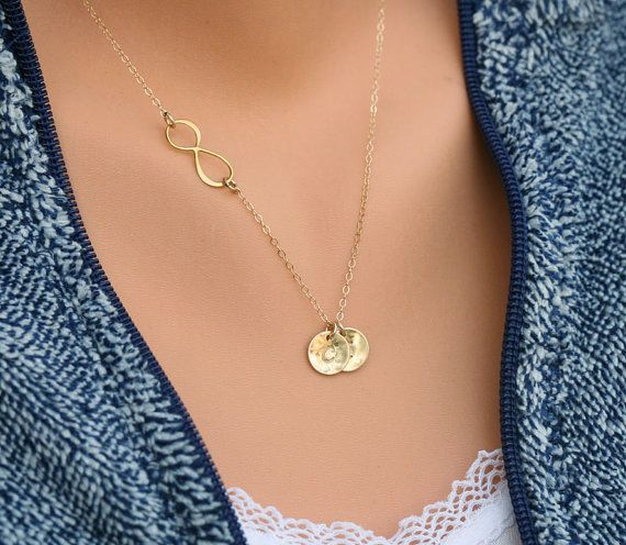 gold infinity necklace with initial charmsidewaysinitial necklacefriendshippersonalized initial