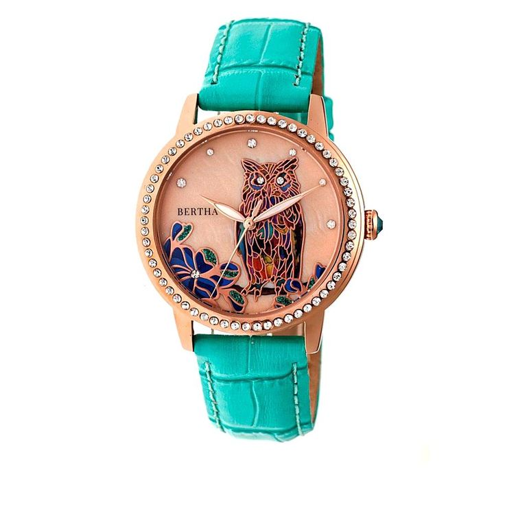 "Bertha Watches ""Madeline"" Owl Croco Leather Strap Watch - Purple"
