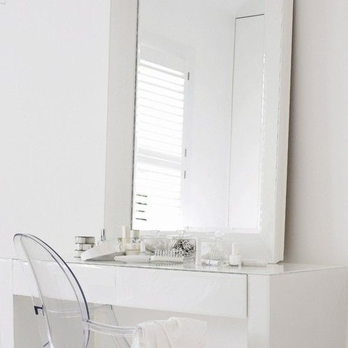 White Dressing Table And Kartell Ghost Chair