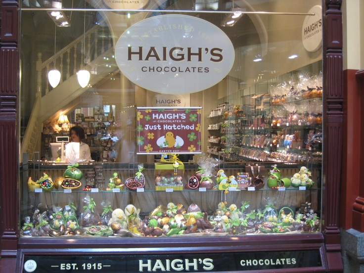 easter window display at Haigh's chocolates-block arcade