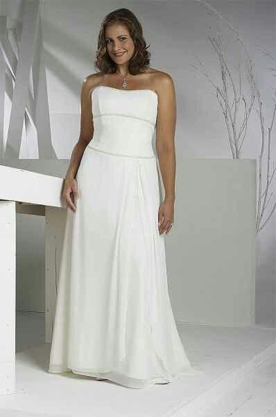 Stunning Ivory Plus Size Strapless Natural Long Floor length Garden Outdoor Wedding Dresses