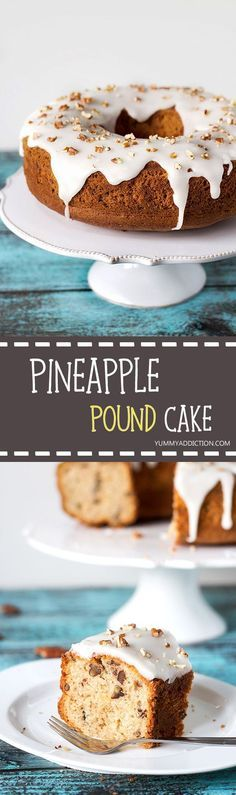 This Pineapple Pound Cake with pecans is made with canned crushed pineapple so it can be enjoyed all year long! | http://yummyaddiction.com
