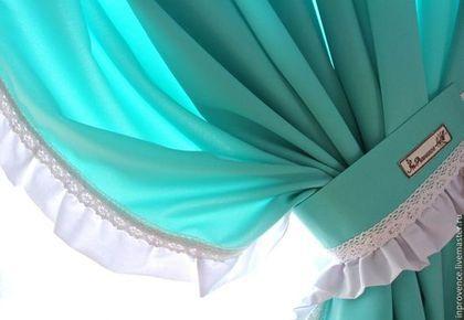 Шторы в детскую бирюзовые с рюшами Шебби Шик.Текстиль для детской. Текстильный комплект в детскую комнату. Шторы для девочки.