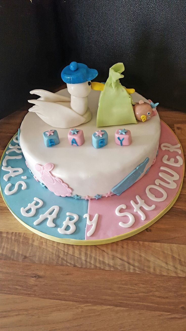 Stork baby shower cake !