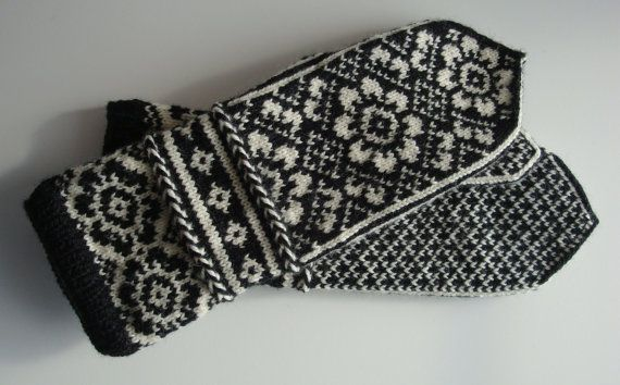 Fair Isle Mittens, Norwegian, Scandinavian, Latvian Braid, Off White and Black, Hand Knit, Extra Long on Etsy, $85.00