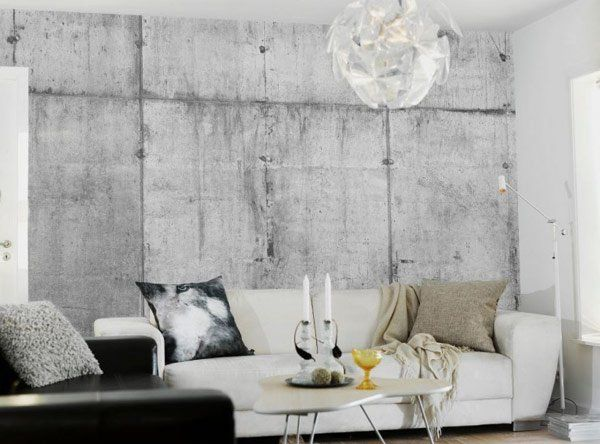 living area use of Artistic Wallpaper in Unrepeated Raw Concrete Pattern