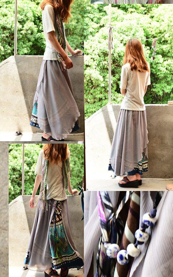 Gonna in chiffon in Nepalese sari cotone / boho di idea2lifestyle3