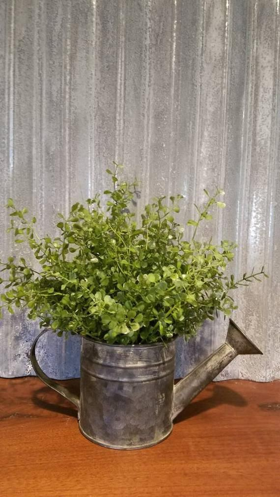 Greenery floral arrangement, rustic watering can, farmhouse decor, fixer upper decor, farmhouse table decor, metal bucket with greenery