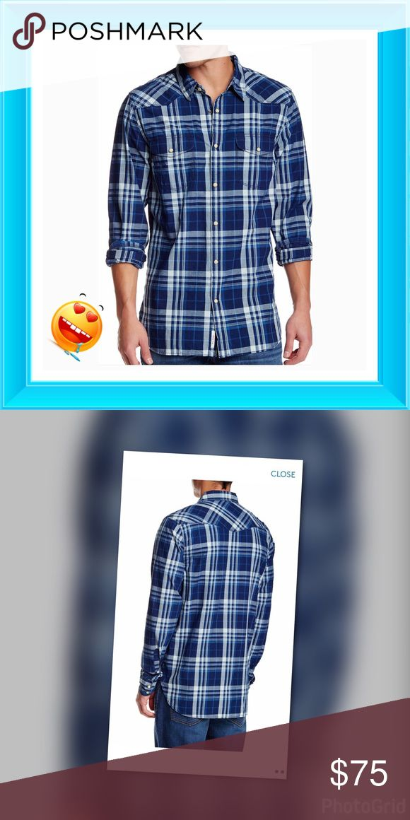 """🎼 Open My Eyes 🎼 Lucky brand (T26) BNWT  Santa Fe Western with indigo blue & white plaid Spread collar, long sleeves with barrel cuffs, front button closure, 2 chest button patch pockets, all over plaid print, regular fit, imported. Fits true to size. 100% cotton - Machine washable ✔️chest 52"""" ✔️length 32"""" Lucky Brand Shirts Casual Button Down Shirts"""
