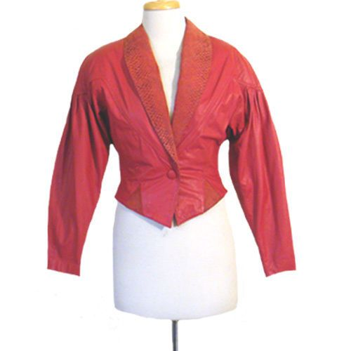 1980s Vintage Red Leather Jacket Slouchy Cropped Snake Print #CHI