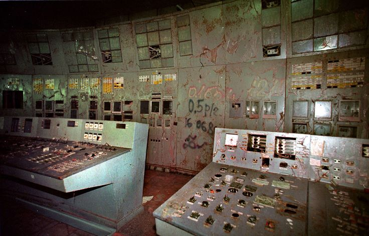 In this Nov. 10, 2000 photo, the control room with its damaged machinery, is seen inside reactor No. 4 in the Chernobyl nuclear power plant. Geiger counters registered about 80,000 microroentgens an hour, 16,000 times the safe limit. (AP Photo/ Efrem Lukatsky)