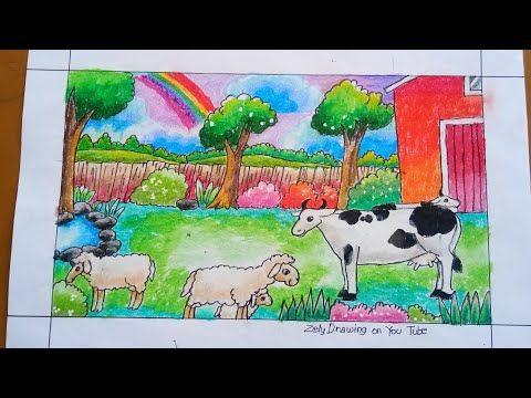Cara Menggambar Hewan Ternak Sapi Domba How To Draw Farm Animals And Landscape For Kids Youtube Animals Drawings Farm Animals