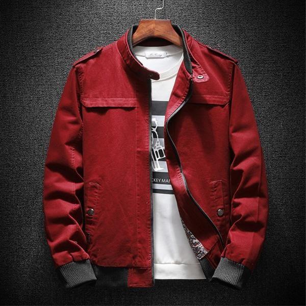 bc90ea0d719e Autumn Bomber Jacket Men Summer Basic Casual Cotton Fashion Military Men  Jacket Classic Outwear Red Khaki Plus Size 4xl 2018