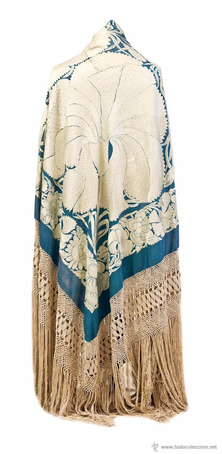 MANTÓN DE MANILA CON GRANDES FLORES ABIERTAS (Antigüedades - Moda - Complementos - Mujer - Mantones Antiguos)