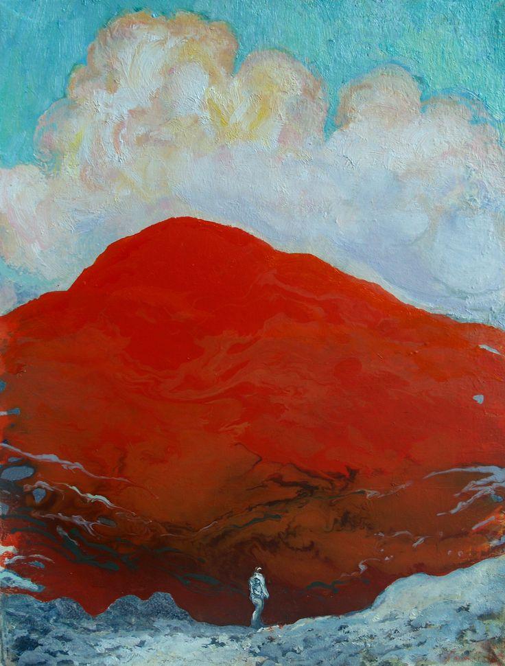Tuomo Saali, Red Mountain, oil on canvas, 70x65 cm, 2016