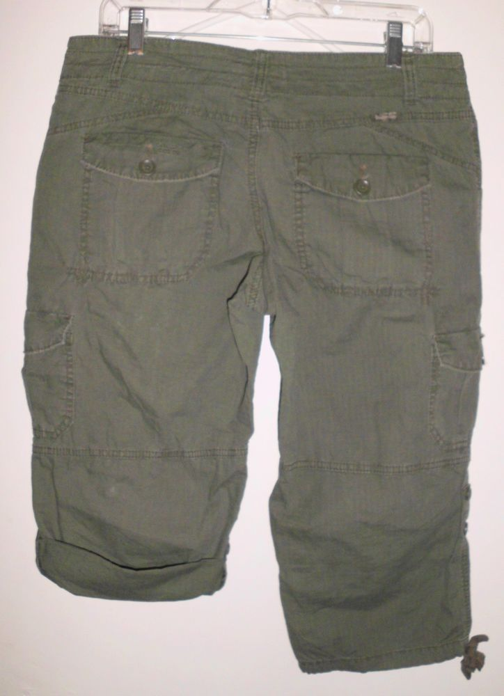 UNION BAY Army Green Adjustable Cropped Capri Mid Rise Pants 9 Junior w/Flaw #UNIONBAY #CaprisCropped
