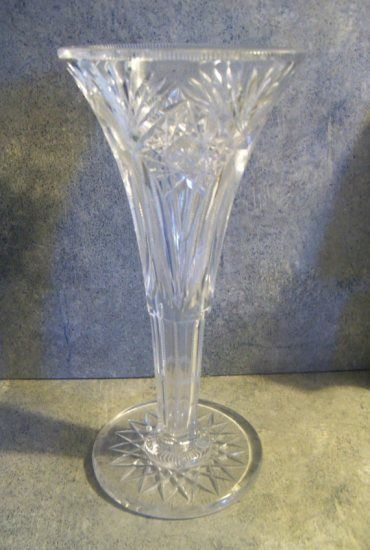 Vintage Anchor Hocking Crystal Long Stem Flower Glass Vase