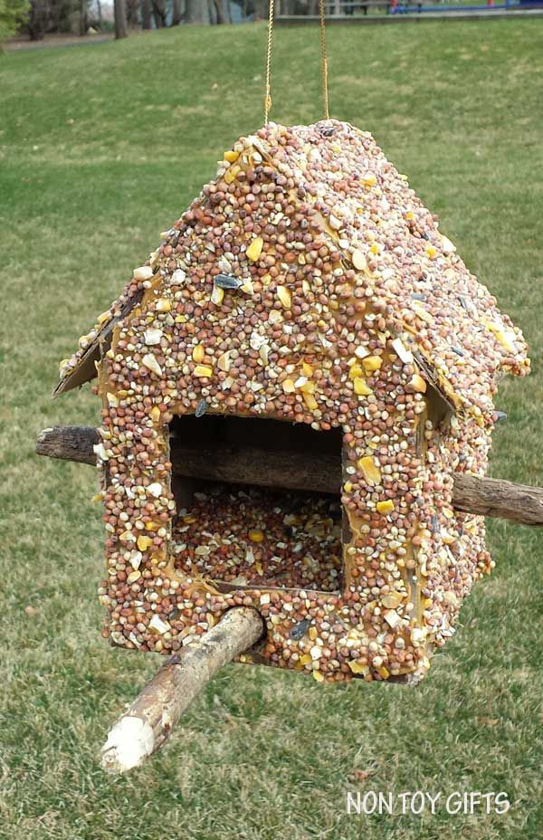 This diy bird feeder is a fun spring or summer craft to for Bird seed glue recipe
