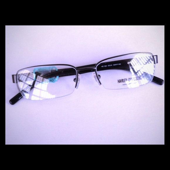 NEW HARLEY DAVIDSON FRAMES! Unisex Brand New Harley Davidson Eyeglass Frames! Priced far below wholesale costs! Great Quality and suitable for either gender. Satin Gun Semi-rimless Metal front with Black plastic temples with spring hinges! Harley-Davidson Accessories Sunglasses