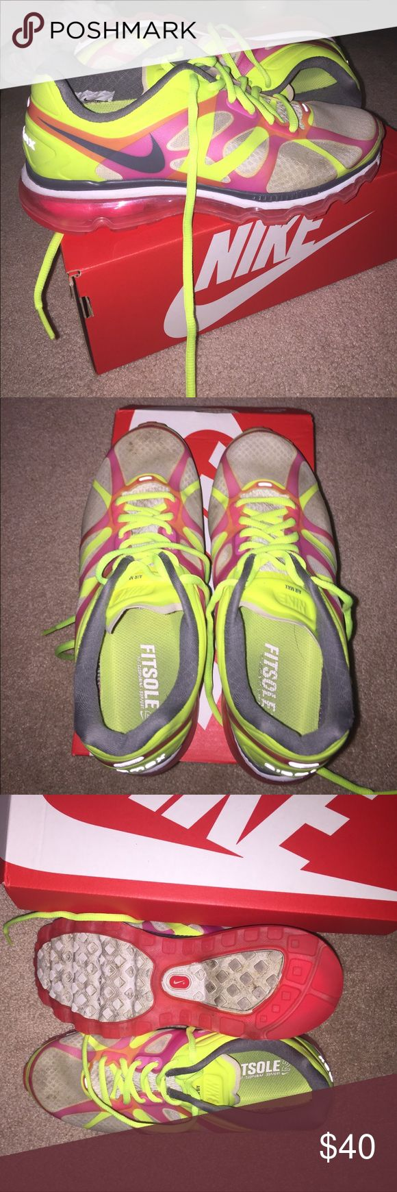 Nike air max tennis shoes Neon Nike air max tennis shoes, gentler used with little wear, with box Nike Shoes Sneakers