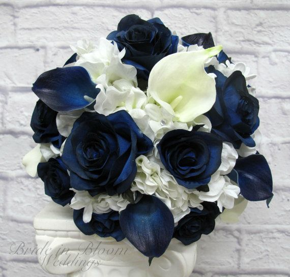 Wedding Bouquet Brides bouquet Navy and by BrideinBloomWeddings
