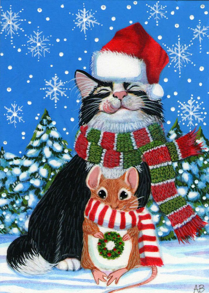 b2f132d57731e ACEO Original Tuxedo Cat Kitty Mouse Snow Snowflakes Mice Painting Anne  Berbling  Miniature