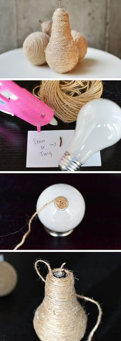 DIY Twine Light Bulb Pears | 27 DIY Rustic Decor Ideas for the Home | DIY Rustic Home Decorating on a Budget
