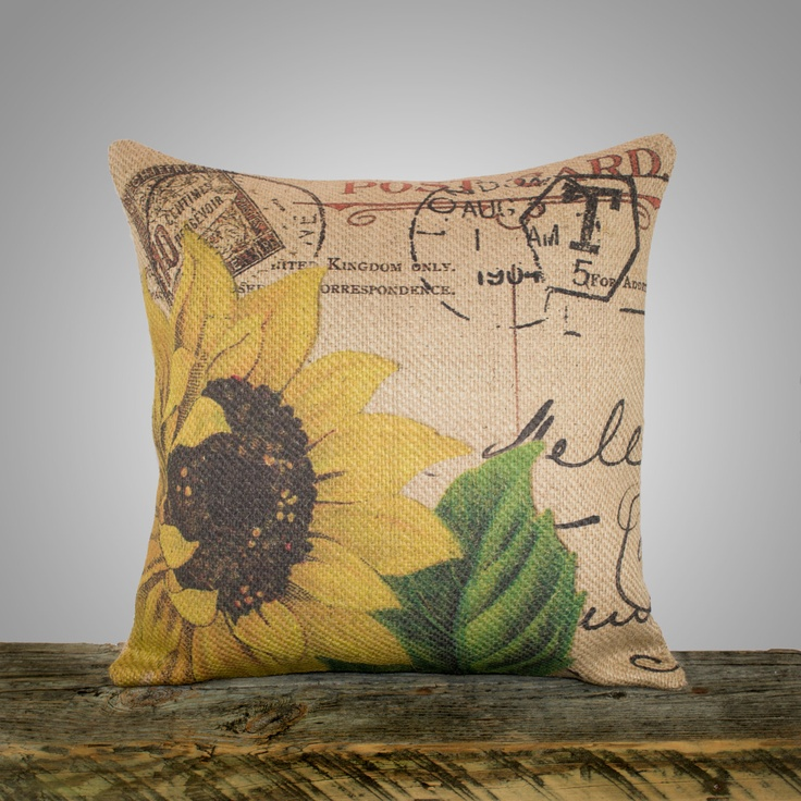 Sunflower Pillow Cover, Burlap Pillow, Cushion, Throw Pillow, French, Feed Sack, Flower, Accent ...