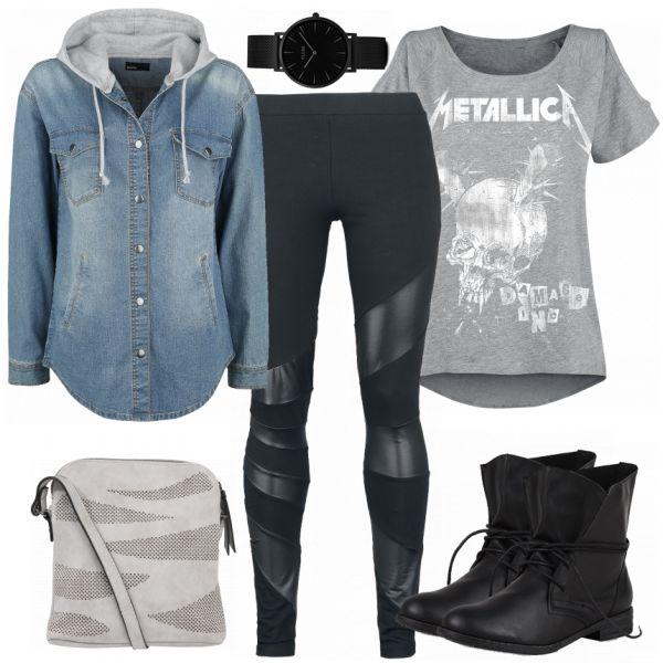 Moderner Rock-Look aus Jeanshemd, Metallica T-Shirt und schwarzen Stiefeletten... #fashion #fashionista #mode #damenmode #frauenmode #damenoutfit #frauenoutfit #outfit #outfitinspo
