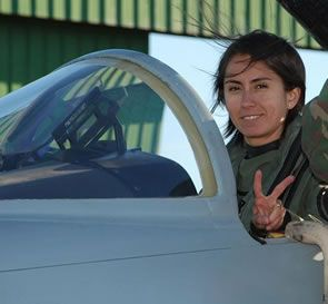 Chilean Air Force pilot Lt. Karina Miranda, the first women to fly fighter jets for the Chilean Air Force.