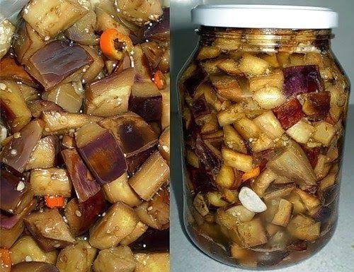 Ингредиенты: 5кг баклажан 5 литров воды соли 1 стакан уксуса о,5 л 9% зелень как на засолку грибов(укроп,смородиновый лист) перец горький красный 1 стручок чеснок пару головок.   Приготовление:  Баклажаны нарезать кубиками и бросить в кипящую воду.Кипятить 3-4 минуты,погружая и помешивая.  Отцедить и бросить в кипящее масло 0,5 литра на 5 кг.Кипятить 2-3 минуты, добавить перекрученный чеснок и перец. Перемешать всё и закрывать.  Закрутить банки и поставить вверх дном до полного остывания.