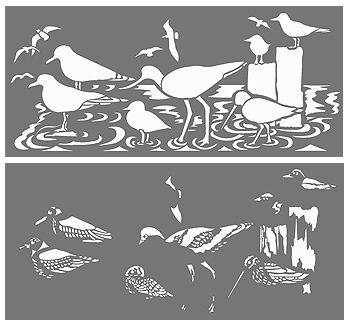Coastal Birds Border Stencil Sea Birds Stencils                                                                                                                                                                                 More