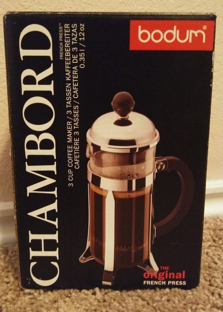 Bodum Chambord French Press Coffee Maker Model 1923 12 Oz 3 Cups Nib Bodum French Press Coffee Maker French Press Coffee Maker