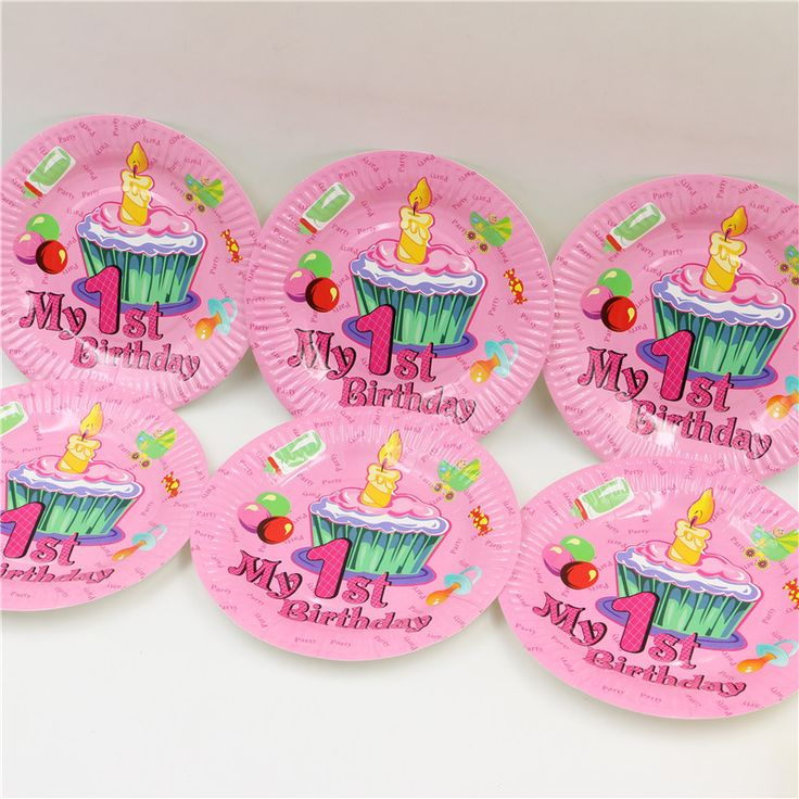 7 inch розовый мой 1-ый день рождения свеча шаблон дети девочки день рождения бумажную тарелку печати круглые блюда праздничные атрибуты 10 шт./лот