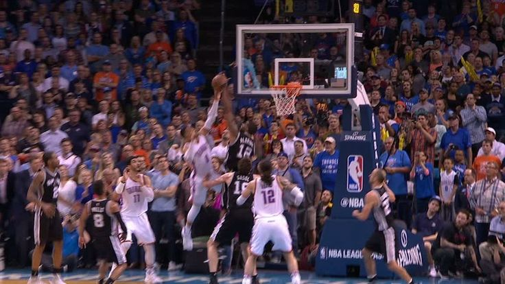 Russell Westbrook is blocked by LaMarcus Aldridge on one end, and Kawhi Leonard goes coast-to-coast for the huge and-1 layup to finish off the Thunder.