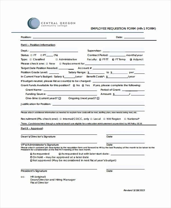 Position Requisition Form Template Inspirational 29 Hr Form