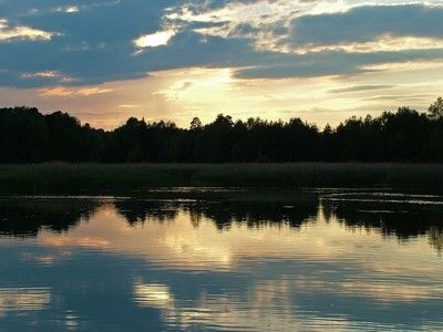 Sun penetrates clouds over forest on lake's shore