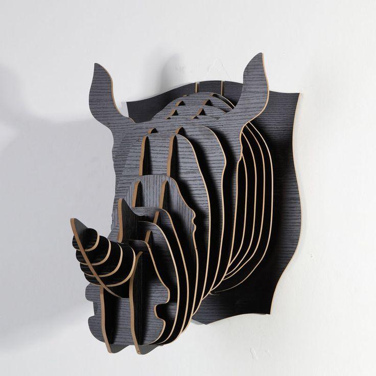 Barato 1 conjunto madeira criativo Wall Art 5 MM MDF madeira cabeça Rhino gancho…