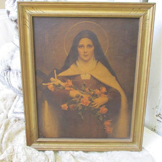 vintage st therese framed large print