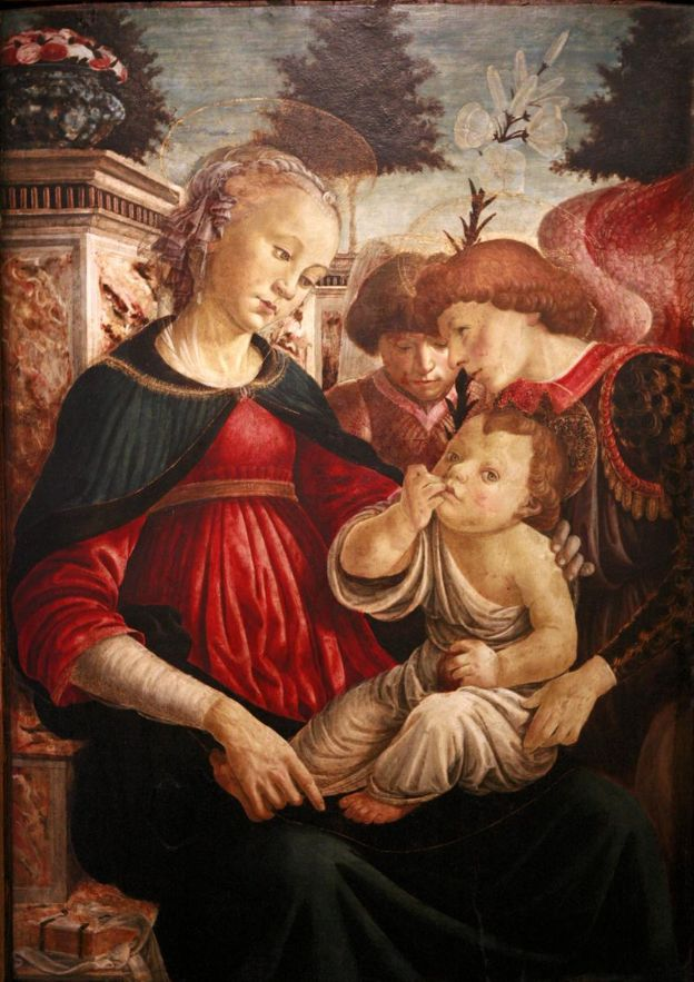 ❤ - SANDRO BOTTICELLI ( 1445 - 1510) - Virgin and Child with two Angels.