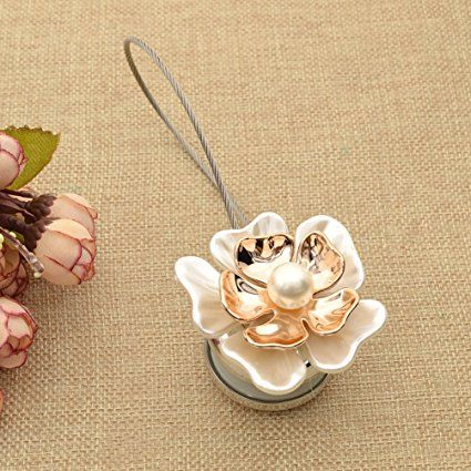 Amazon.com: Cream Flower Magnetic Curtain Buckle Curtain Holder Pearl Tieback Curtain Clip 1 Pc: Home & Kitchen