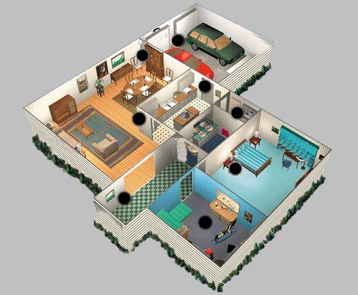 plan de maison 3d avec 2 chambres et garage - Faire Croquis Appartement Entree Et Salon